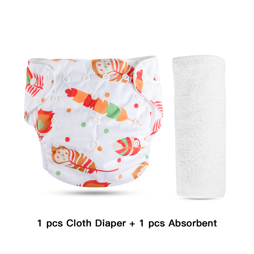 cotton orange hunter's feather reusable diaper