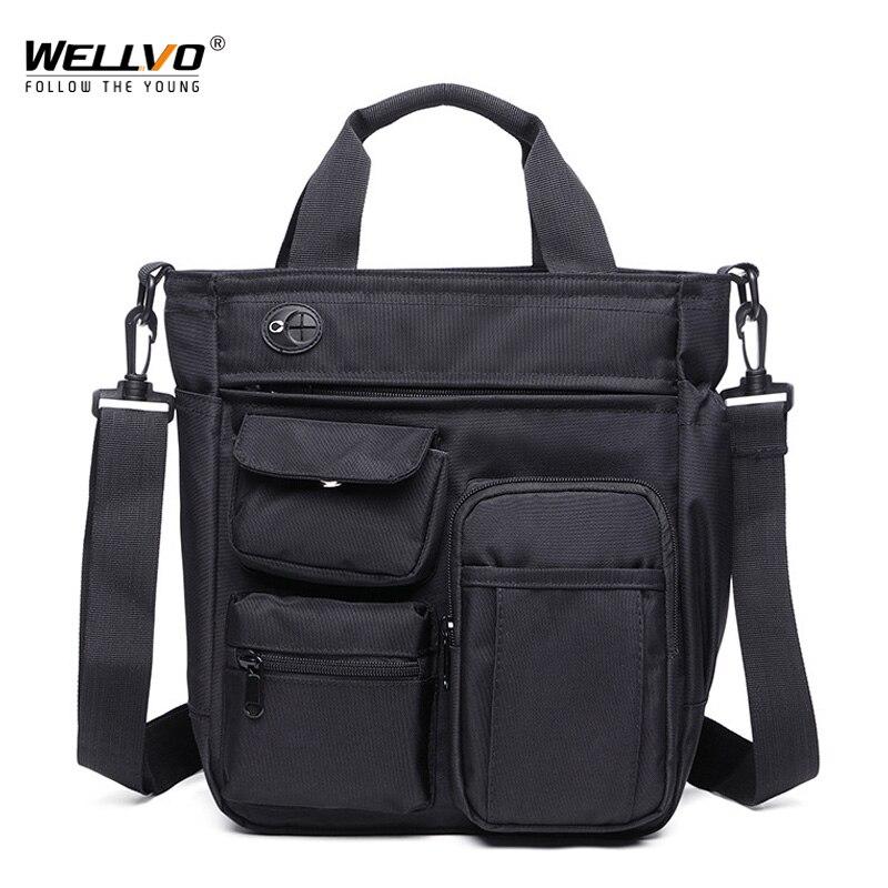 Multifunctional Office Messenger Bag With Headphone Hole Waterproof Nylon Travel Handbag Shoulder Bag Men Leisure Bag XA11ZC