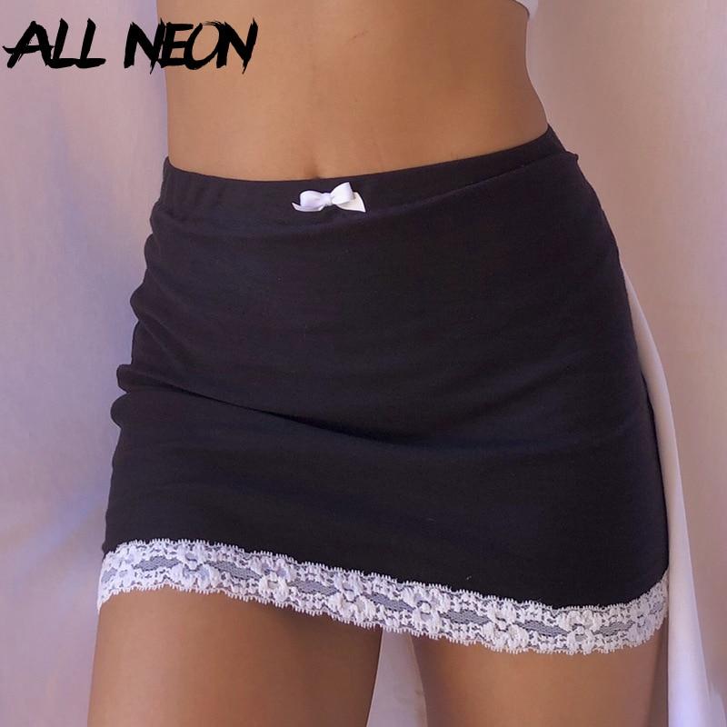 ALLNeon e-girl doux nœud dentelle garniture noir jupes Y2K esthétique solide taille haute moulante jupe courte Clubwear 90s Vintage bas