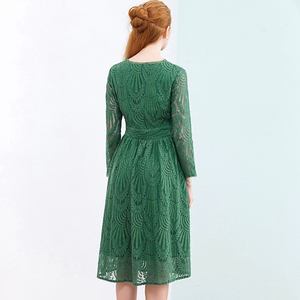 Image 4 - HELIAR Dress 2020 Summer Women Hollow Out One piece Green Leaf Pattern Laced Up Dress Casual Knee Elastic Waist Dress Women
