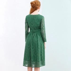 Image 4 - HELIAR Dress 2020 Summer Women Hollow Out 원피스 그린 리프 패턴 레이스 업 캐주얼 무릎 탄성 허리 드레스 여성