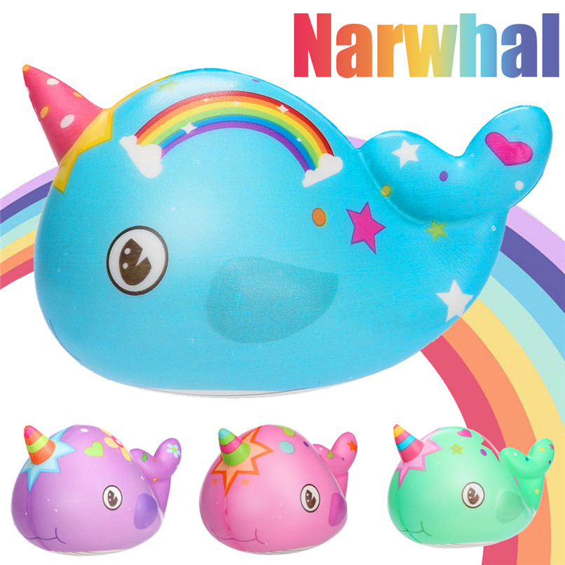 Squeeze Soft Squishies Toy Kawaii Adorable Narwhal Toy Slow Rising Cream Scented Stress Relief Toys Gifts Funny Gift #30JAN06