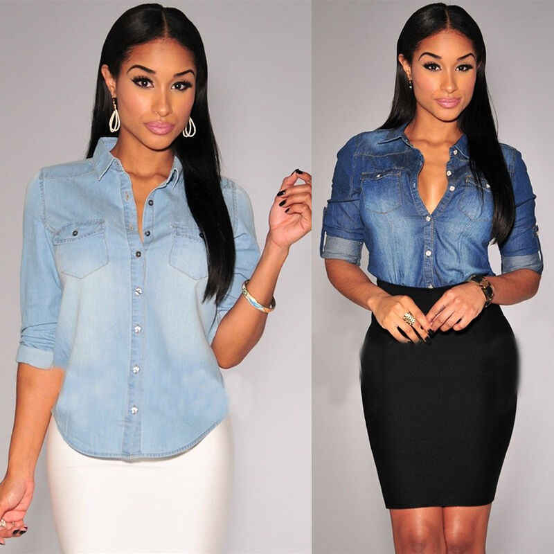 2019 Long Sleeves Retro Women Shirts Casual Blue Jean Soft Denim Long Sleeve Shirt Tops Blouse