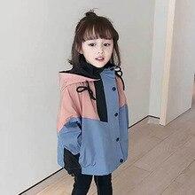Girls'-Coats Jacket Windbreaker Spring Children's And Autumn Hooded for Short Zipper