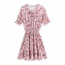 купить Summer Chiffon Dress Women Print Floral A-line O-Neck Lantern Sleeve Sweet Knee-length Dress For Girls дешево