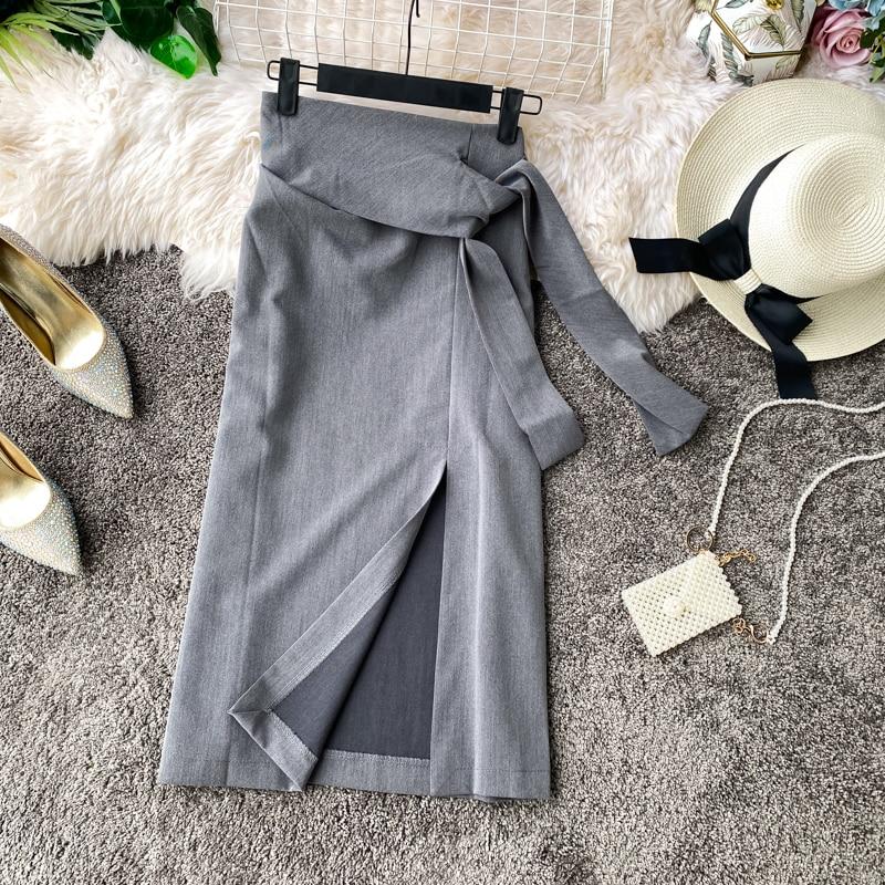 Summer Lady One-step Office Skirt 2020 Spring  New Wild Side Slit Skirt Female Mid-length High Waist Womens Casual Skirts Female
