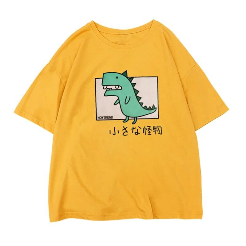 Women Loose Round Neck T-shirt Cartoon Print Tee Casual Short Sleeve Summer Shirt