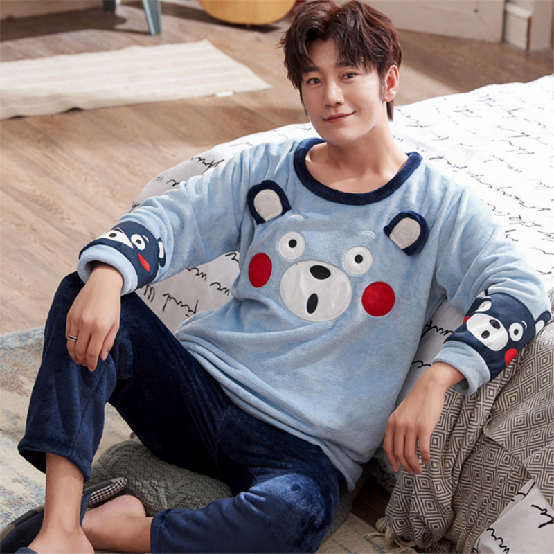 Autumn And Winter Men's Cartoon Long-sleeved Full-length Flannel Pajamas Warm Suit O-neck Men's Comfortable Casual Pajamas