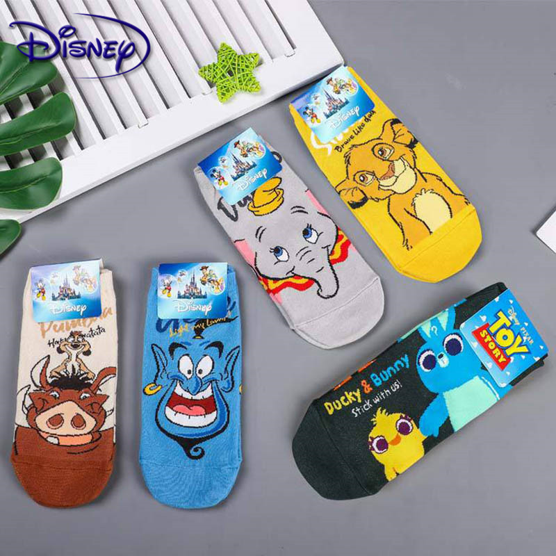 Disney Lion King Simba/Wild Boar/Aladdin Lamp God/Dumbo Socks Harajuku Cartoon Print Funny Sock Spring Short Sock