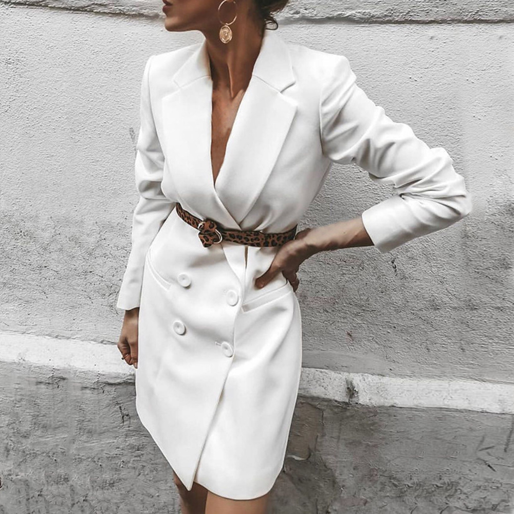 WENYUJH Brand Double Breasted Long Blazer Jacket Women Fall 2019 New OL Style Slim Overcoat Spring Outwear Coats Female Clothes