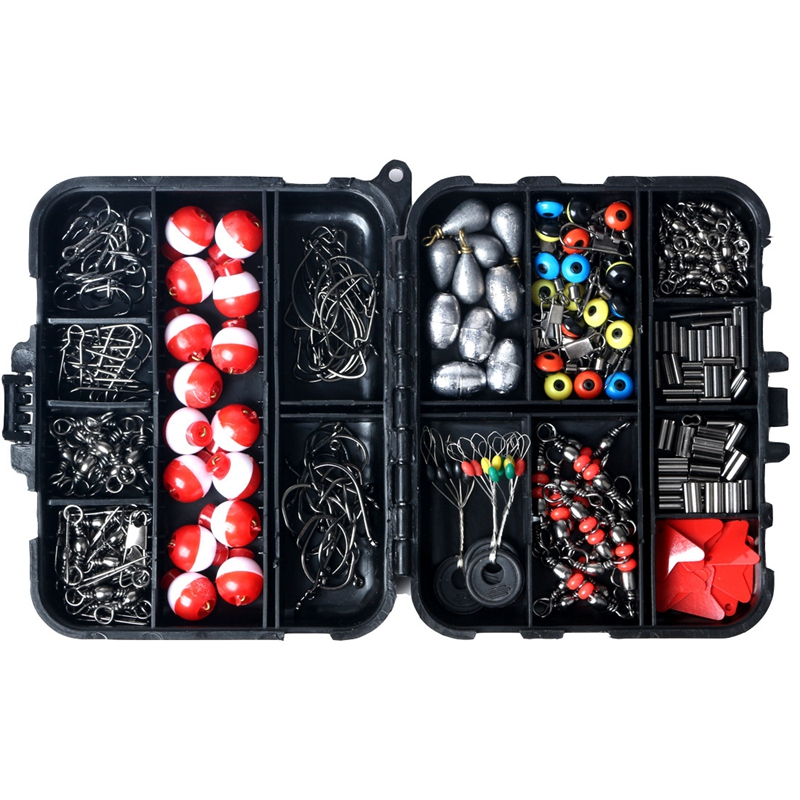 263PCS Fishing Accessories Fish Tackle Box Fishing Accessories Case Fish Hook Lure Parts Kit Set