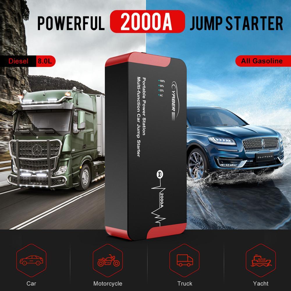 Yaber YR700 High Quality 2000A Jump Starter Emergency Car Jump starter Battery Power Bank Auto Booster 22000mAh 100W AC Output