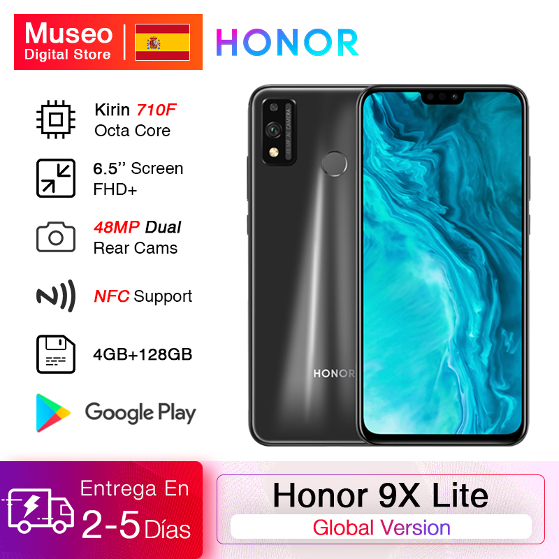 New Arrival Global Version Honor 9X Lite Smartphone 4G 128G 48MP Camera Kirin 710 6.5'' Mobile Phone Android P GPU Turbo 3.0 NFC