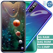 V30 pro smartphones tela gota de água 4 gb ram 64 gb rom 13mp quad core 6.26 polegadas face id desbloqueado telefones celulares android celulares