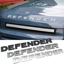Capa dianteira do carro 3d letras abs logotipo placa de identificação etiqueta para land rover defender cabeça emblema guarnição decalques substituir acessórios