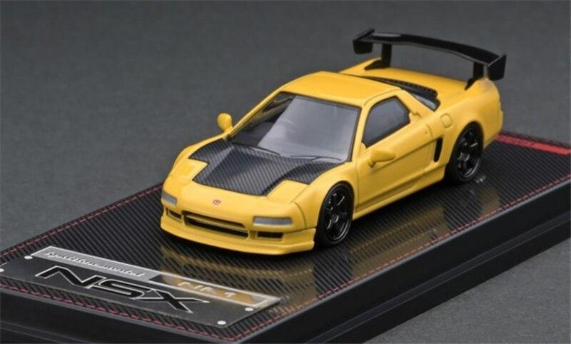 IG 1:64 Honda NSX (NA1), modelo de coche fundido a presión amarillo mate