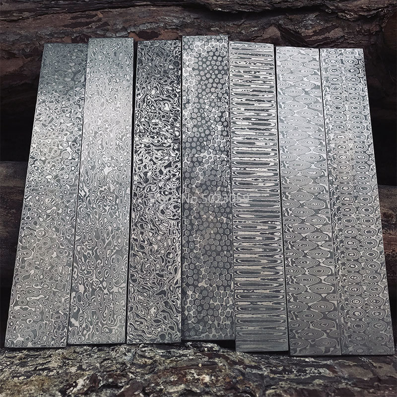 5 Kinds Damascus Steel DIY Knife Making Material Rose Sandwich Pattern Steel Knife Blade Blank Has Been Heat Treatment