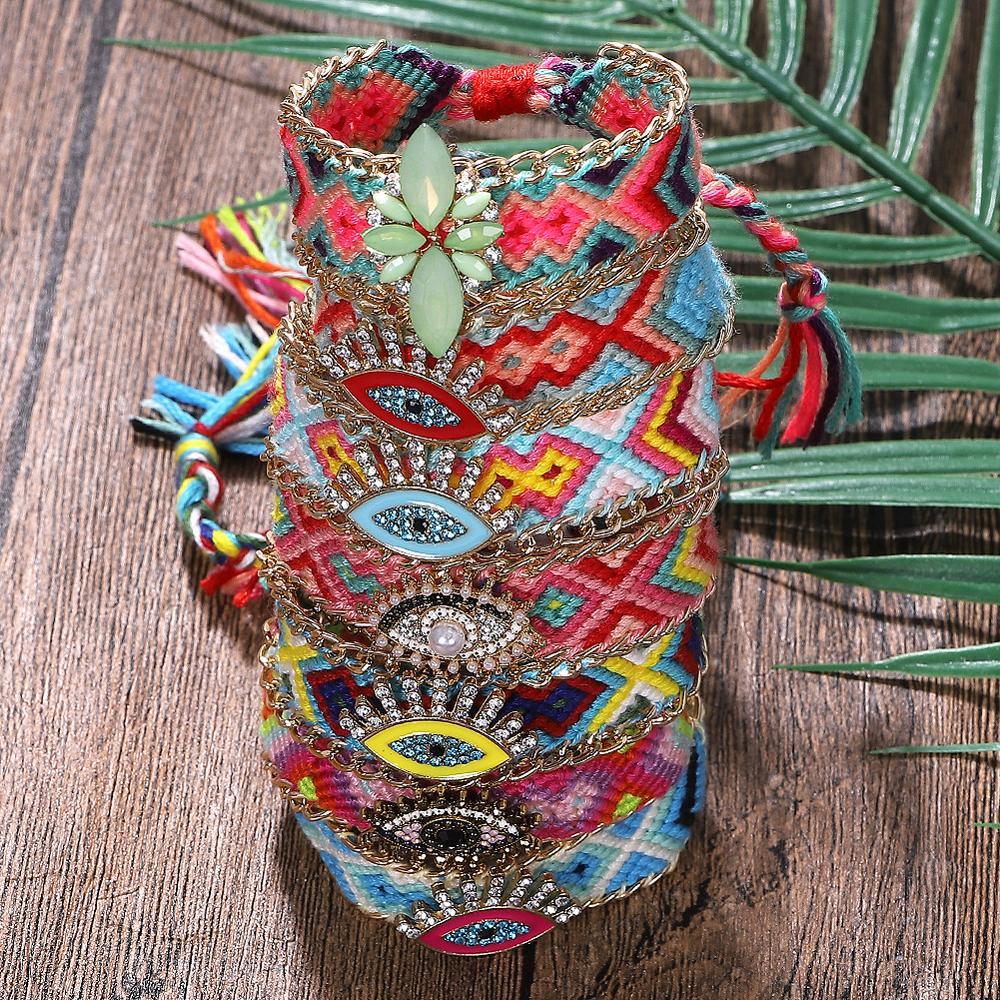 Best lady DIY Boho Handmade Charm Bracelets Adjustable Cloth Pattern Eyes Friendship Bracelet Bangles for Women Sisters Party
