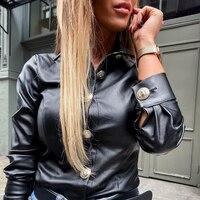 Новинка, женская рубашка из искусственной кожи с длинным рукавом, весна-осень, модная повседневная рубашка на черной пуговице, женские повс...