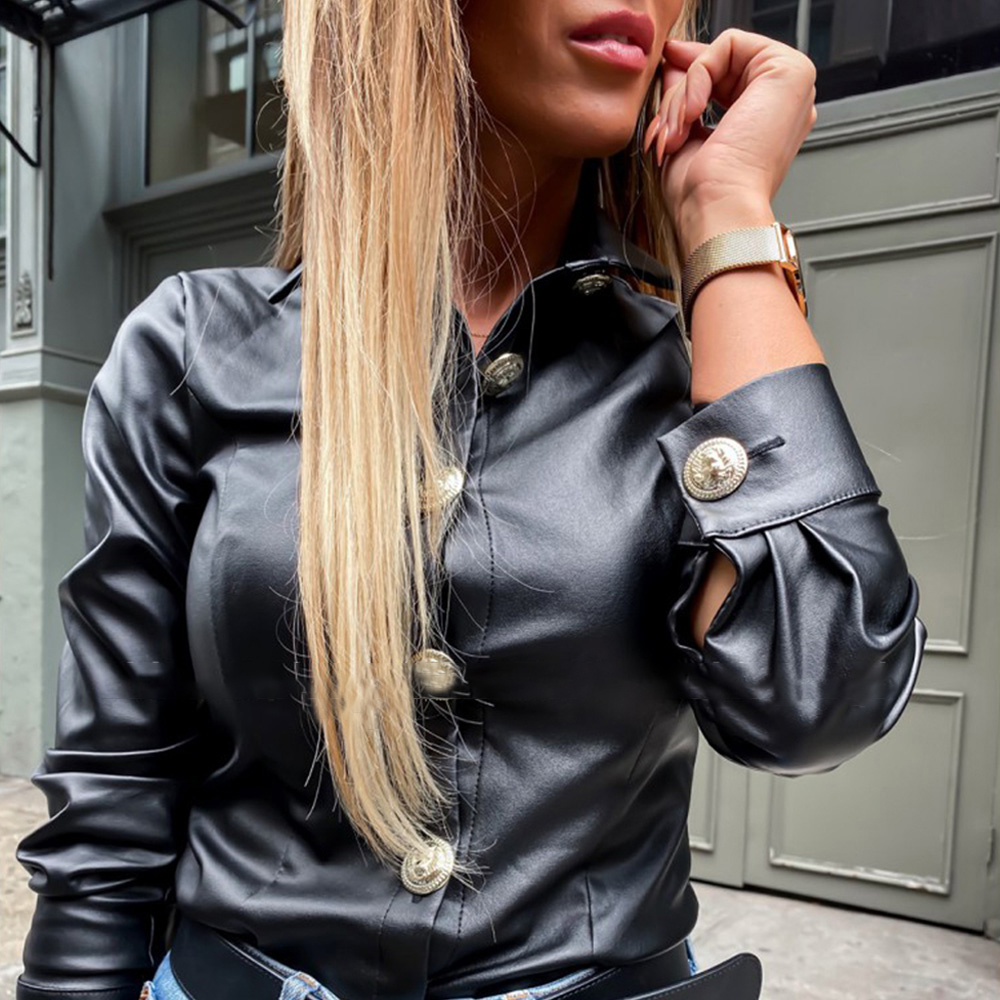 New Women Faux Leather Long Sleeve Shirt Spring Autumn Fashion Casual Black Button Basics Lady Lapel Daily Wild Style Shirts D30