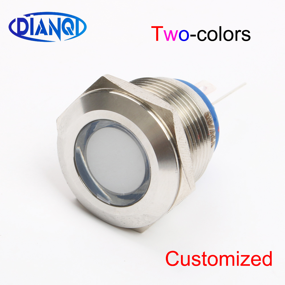 19mm Two-color LED Common Cathode Common Anode Metal Indicator Light 19mm Flat Round Signal Lamp 6V 12V 24V 220v Pin Connect
