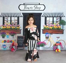 Wiosna/zima dziewczynek strój dzieci bawełniane ubrania ruffles czarny kwiatowy kwiat ruffles spodnie w paski