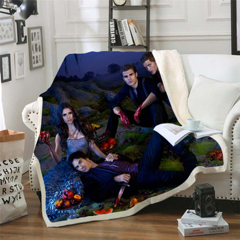 The Vampire Diaries 3d printed fleece blanket for Beds Hiking Picnic Thick Quilt Bedspread Sherpa Throw Blanket style-8 stranger things blanket for beds hiking picnic travel winter thick couch cover hot movies bedspread sherpa fleece throw blanket