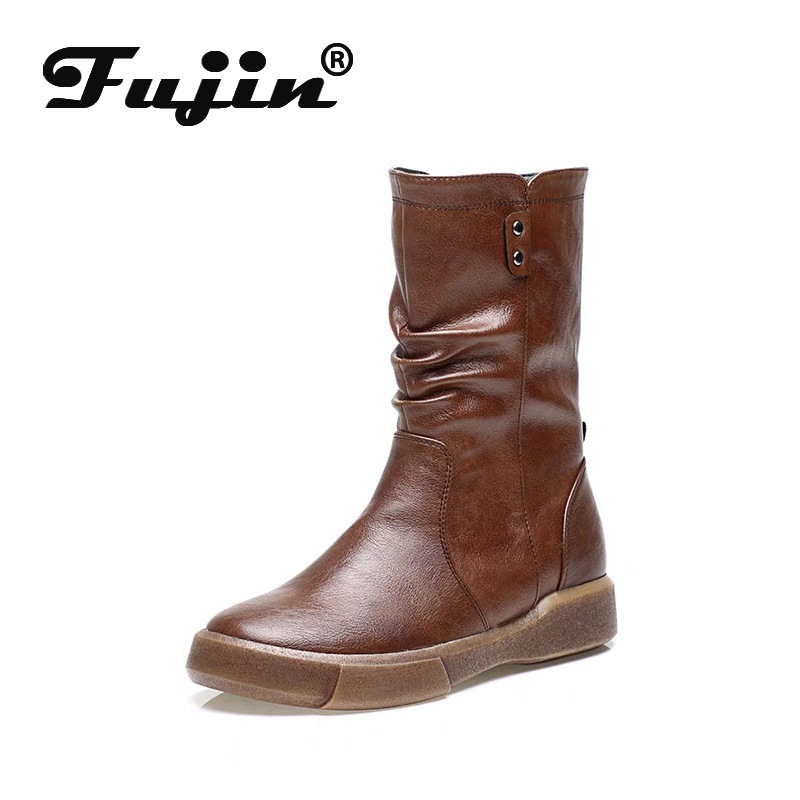 Cotton Boots Women Shoes Velvet Flat-Soles Retro Autumn Winter New No Fujin with British-Style