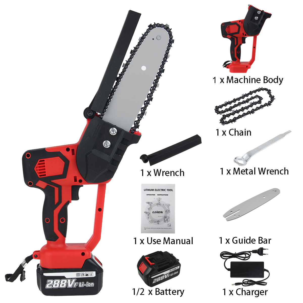 Tools : Electric Saw Chainsaw 8 inch 288V 1500W Rechargeable Woodworking Power Tool with 2 Batteries Brushless Motor Wood Cutter Kit