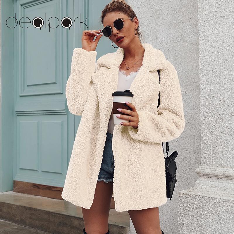 Women Faux Fur Coat Long Teddy Jacket Warm Fleece Long Sleeves Notched Lapel Collar Vintage Furry Overcoat Outwear Plus Size 3XL
