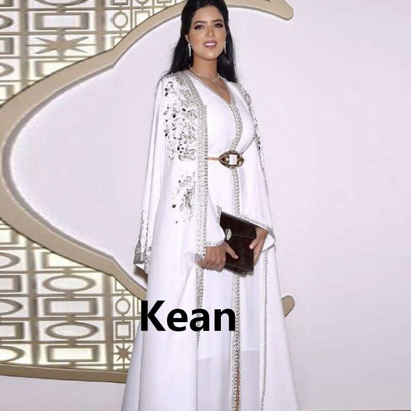 White Moroccan Kaftan Mother Of The Bride Dresses Appliques Evening Dress Vestido De Renda Groom Mother Formal Party Dress