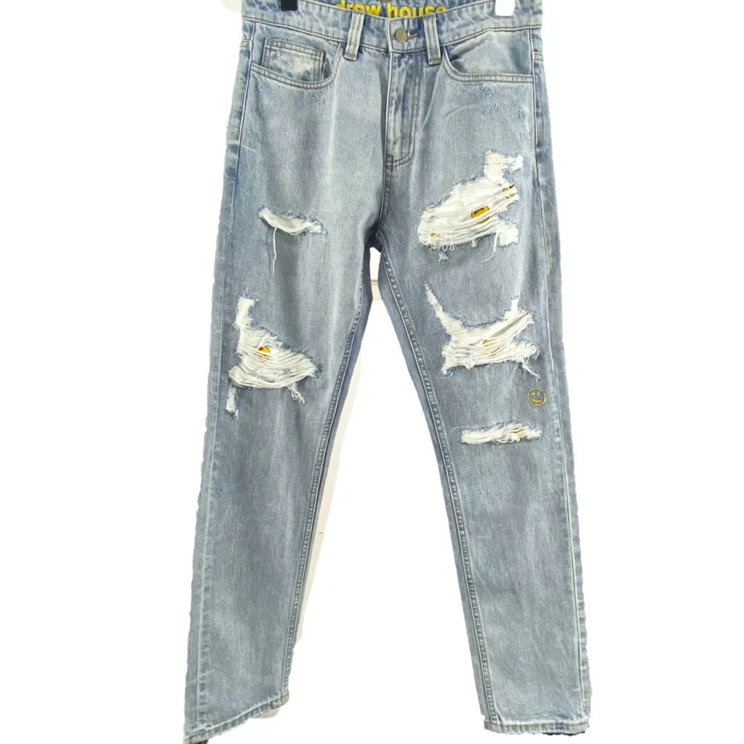 1:1 Best Quality Justin Bieber Drew House Vintage Bleach Washed Tapered Jeans Men Women HipHop Drew Destroyed Denim Trousers Men