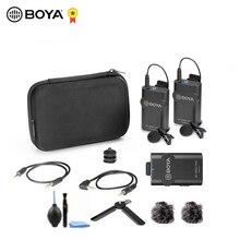 BOYA BY WM4 Pro 60M bezprzewodowy zapis Audio wideo nadajnik mikrofonu DSLR odbiornik etykiety zestaw mikrofonu Vlog na żywo wykład Mic