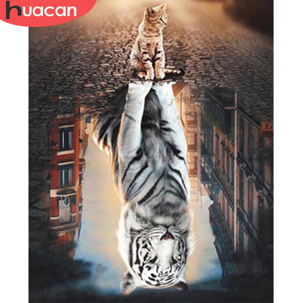 HUACAN Paint By Numbers Animal Drawing On Canvas HandPainted Art Gift DIY Picture By Number Giger Cat Kits Home Decoration