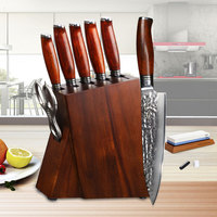 YARENH 8 PCS Chef Knife Set   High Quality Acacia Wood Knife Block Set   Pro Damascus Steel Kitchen Knives Sets   For Chefs Gift