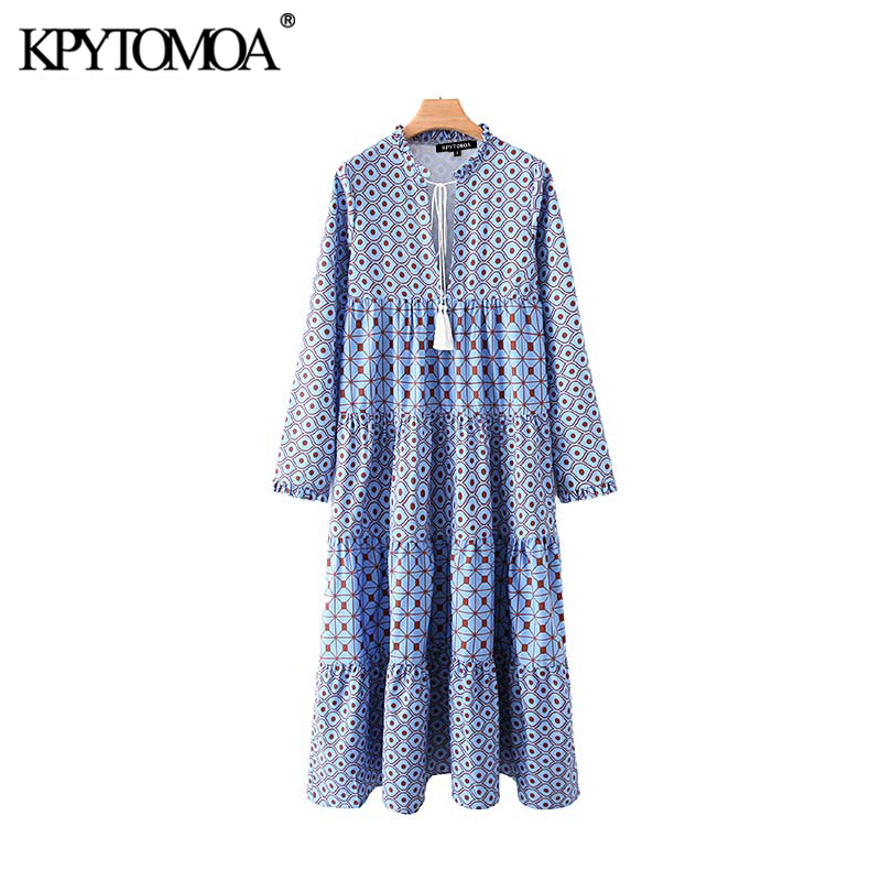 Vintage Stylish Geometric Pattern Pleated Midi Dress Women 2020 Fashion V Neck Long Sleeve Tassel Tie Female Dresses Vestidos