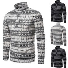 Goocheer New Autumn Men Casual Long Sleeve Turtleneck Knitted Cardigan Pullover Snowflake Pattern Jumper Sweatshirts