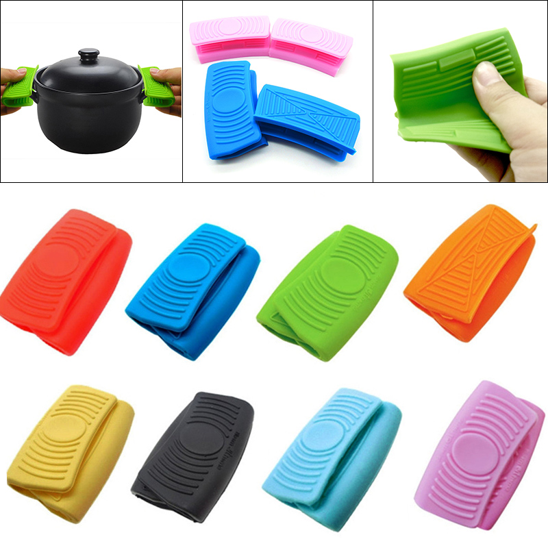 1 Pair Portable Silicone Oven Mini Gloves Heatproof Anti-scalding Gloves for Cooking Clamp Pot Holders Potholders Kitchen Tools