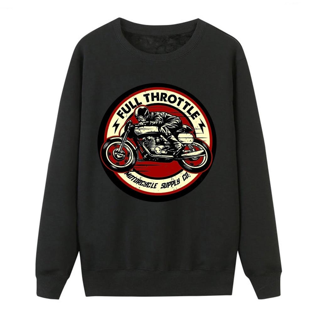 2019 Winter Women Fleece Sweatshirt Full Throttle Cafe Racer Rockabilly Biker Hip Hop Pullover Hoodies New Spring Crewneck Tops