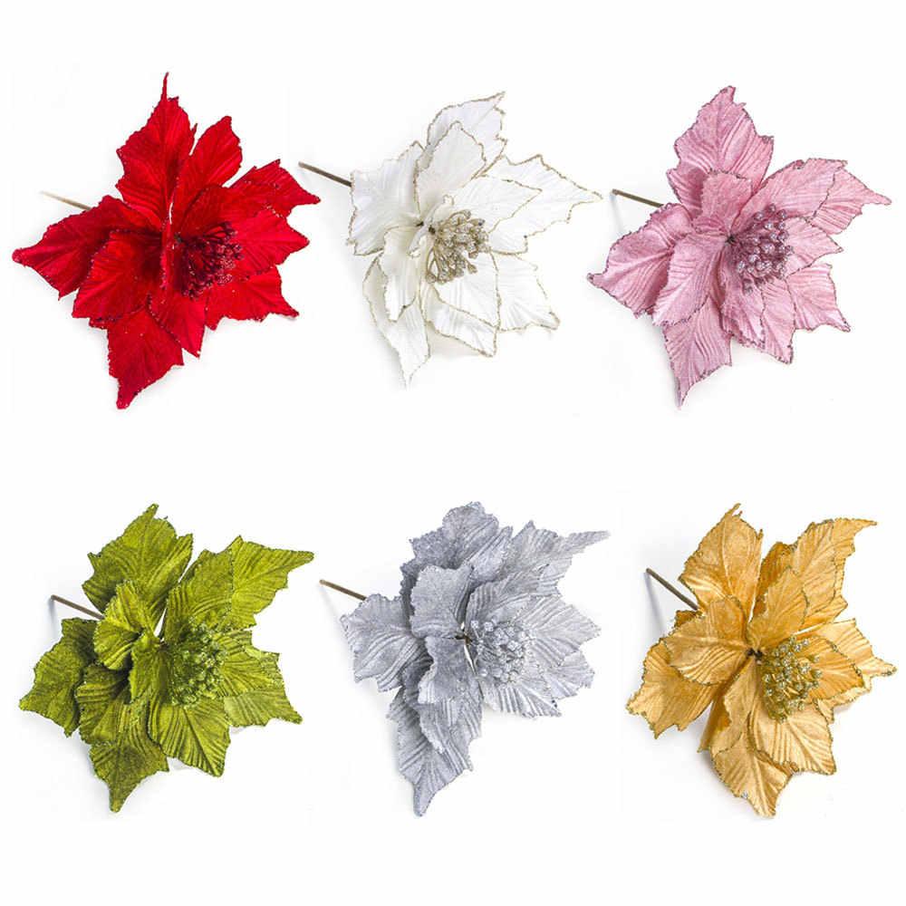 Besar Bunga Buatan untuk Dekorasi Natal Glitter Poinsettia Palsu Bunga Diy Rumah Xmas Dekorasi Tahun Baru Bunga Pernikahan