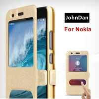 Leather Case For Nokia 6.1 5.1 8.1 3.1 6 8 7 Plus 2018 Window View Flip Book Case On For Nokia 6 2018 Stand Folding Cover Cases