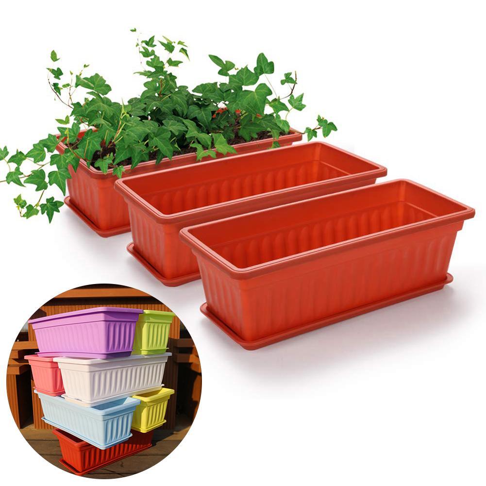 3Pcs Balcony Flower Pots Garden Rectangular Vegetable Flower Planter Resin Box With Drain Hole Home Patio Courtyard Planting Pot