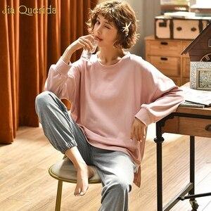 Image 2 - Pijamas de outono feminino conjunto de pijamas de lazer das mulheres ternos de algodão em casa usar tamanho solto estudante menina roupa de casa nova pijamas mujer