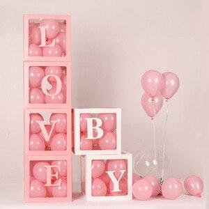 Image 2 - 4 adet/takım 2019 Şeffaf Kutu Lateks Balon BEBEK AŞK Blokları Çocuk Kız Bebek Duş Düğün Doğum Günü Partisi Dekorasyon Zemin