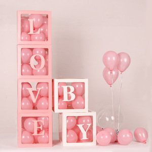Image 2 - 4pcs/set 2019 Transparent Box Latex Balloon BABY LOVE Blocks for Boy Girl Baby Shower Wedding Birthday Party Decoration Backdrop