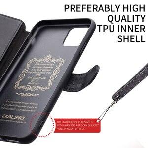 Image 3 - QIALINO موضة أغلفة جلدية حقيقية آيفون 11Pro/11 جراب هاتف فاخر المغناطيسي مشبك فتحة للبطاقات ل iPhone11 ProMax