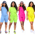 Fashing Solid Causal Two Piece Set Women Clothing Round Neck Short Sleeve T Shirt Bodycon Biker Shorts Plus Size 2 Pcs Outfit