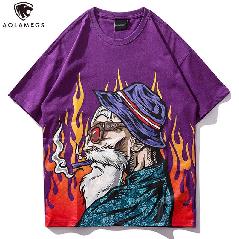 Aolamegs T Shirt Men Japanese Printed Men's Tee Shirts O-neck T Shirt Cotton Fashion Hip Hop Couple High Street Tees Streetwear