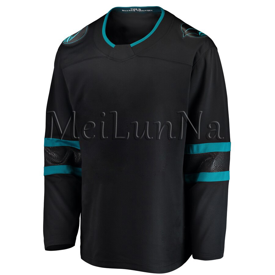 Erik Karlsson Brent Burns Logan Couture Joe Thornton Men Women Youth San Jose Black Blank Alternate Hockey Jersey