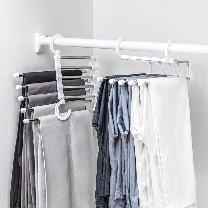Scarf Pants Hangers Multi-function Travel Hooks  Scarfs Belt Towel Magic Steel Hanger Storage Racks